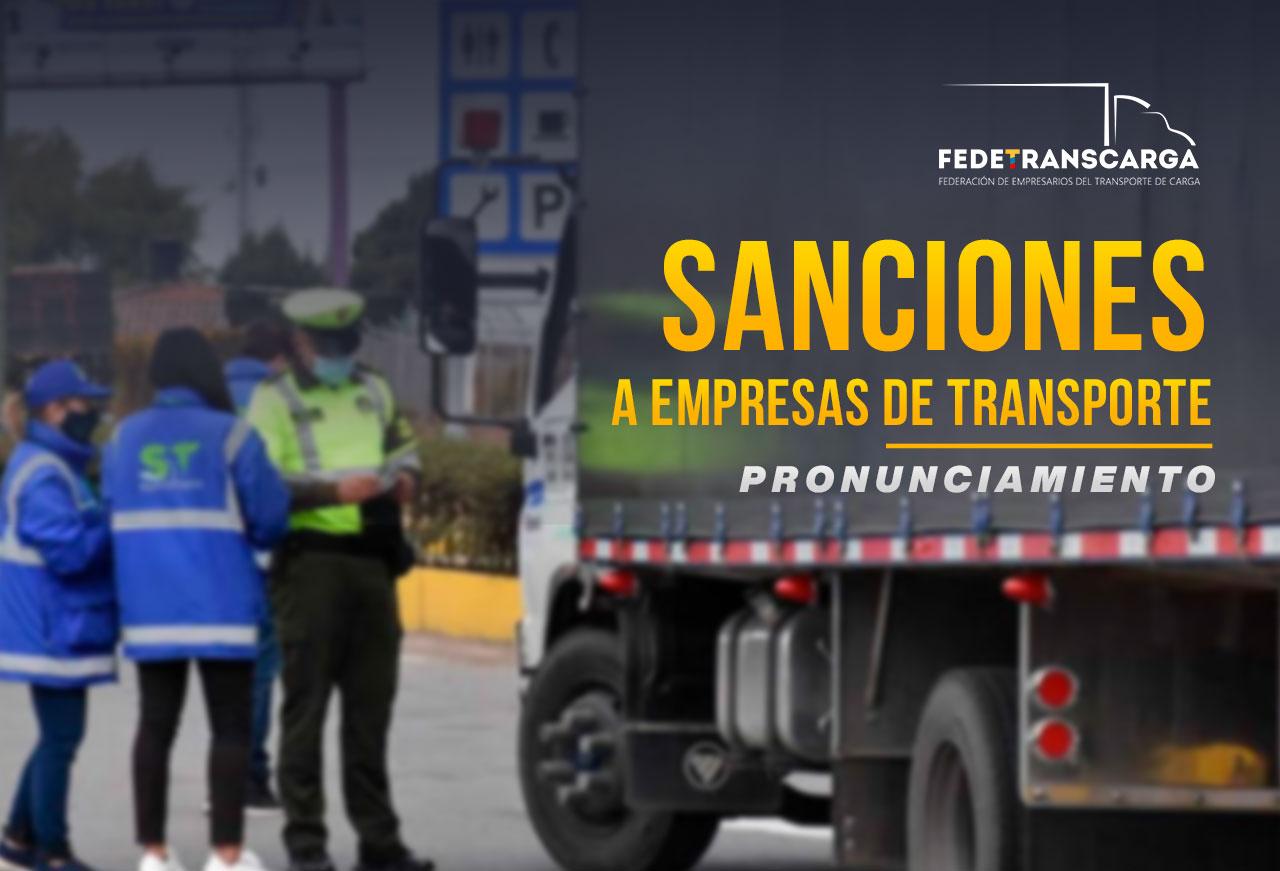 Pronunciamiento de Fedetranscarga frente a sanciones a empresas de transporte